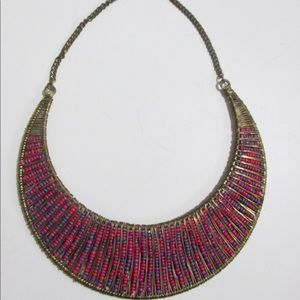 Wire Wrapped Seed Bead Crescent Bib Necklace Brass